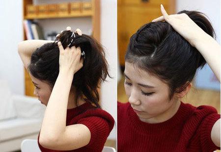 Bước 5: Dùng tay đánh bồng phần chân tóc để tạo độ phồng cho búi tóc khi thực hiện xong.