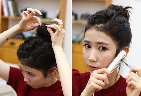 Bước 8: Dùng tay gỡ bồng búi tóc, đồng thời là thẳng các lọn tóc thừa hai bên tai.
