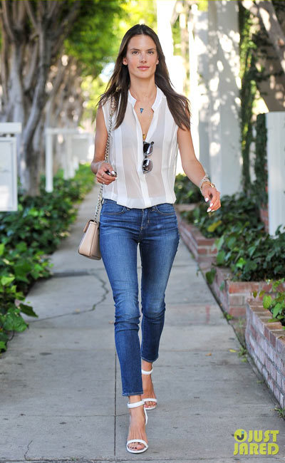 Alessandra Ambrosio doing some solo retail therapy at the Chloe store in West Hollywood.