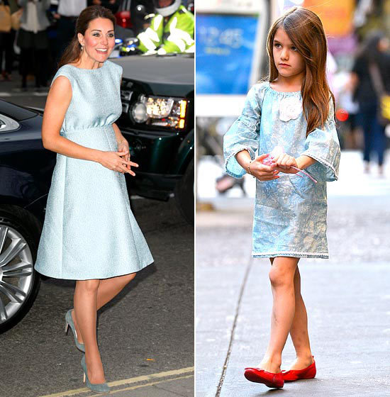 baby blue Middleton covered her baby bump in a flowy Emilia Wickstead dress in April 2013, but Cruise wore the baby blue look first in a Cheeky Chaz dress in September 2012.