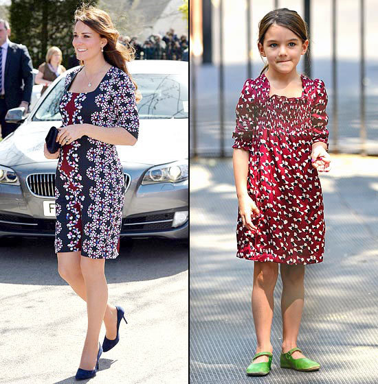 graphic Little fashionista Cruise styled a graphic maroon dress in August 2012, and Middleton donned a similar style to hide her growing baby bump in April 2013.