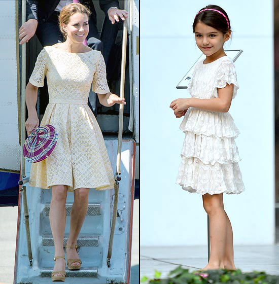 lace Cruise looked adorable in a white lace tiered dress in August 2012. One month later, Middleton followed the trend for a visit to Honiara, Guadalcanal Island.
