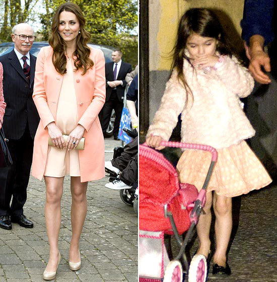 Peach Babydolls Suri in a coordinating peach coat and babydoll dress in September 2010. Mom-to-be Kate looked pretty in a similar peach look in April 2013.