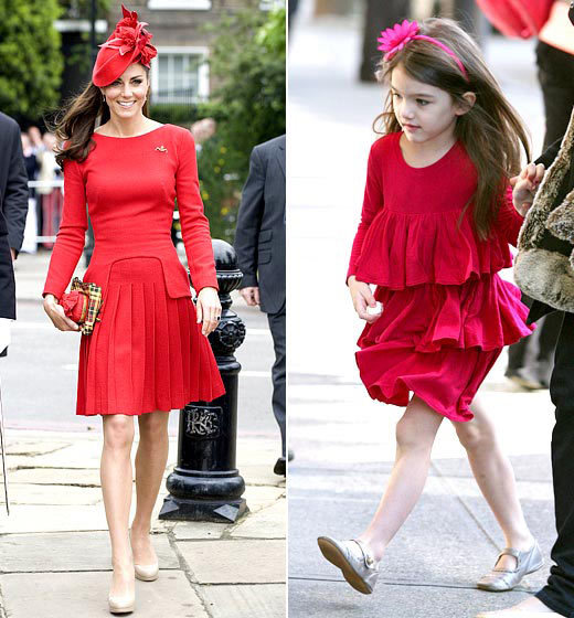 Red Royals Hats off to style queen Cruise for forecasting peplum and fascinator trends in February 2011, long before Kate in June 2012.