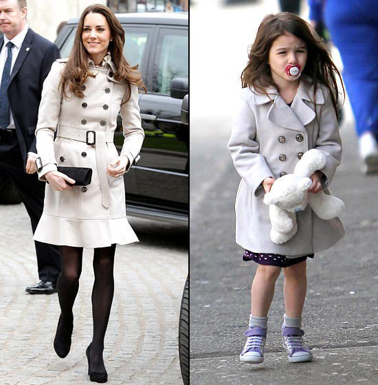 Trench Coat Twosome Burberry trenches, party of two! Kate's coat from March 2011 sold out just hours later, but Cruise got there first - as usual - two days earlier.