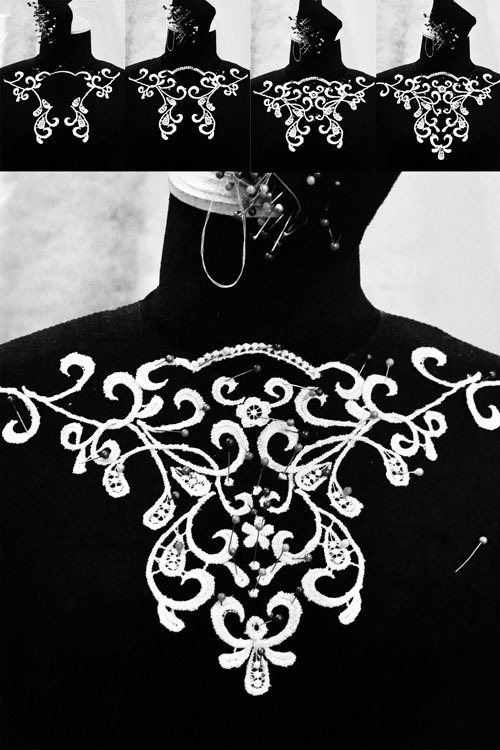 Sau khi tạo hình trên manocanh , mẫu hoa văn sẽ được gim lên váy.
