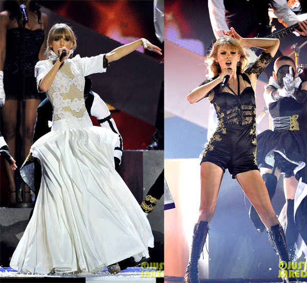 Taylor Swift performing at the 2013 BRIT Awards.