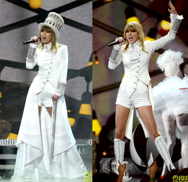 Taylor Swift hits the stage for a circus themed performance of We Are Never Ever Getting Back Together at the 2013 Grammy Awards.
