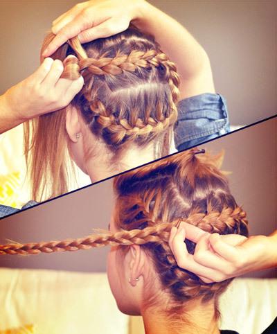 Khi đã kẹp phần tóc đã tết xong, bạn chọn phần tóc ở giữa và tiếp tục tết kiểu Pháp theo hướng ngược lại phần ban đầu. Bạn nên tết sát với lớp tóc đã tết trước đó để tóc không bị thừa. Khi đã tết đến gần tai, bạn chuyển sang kiểu tết tóc thường và dùng thun nhỏ để buộc đuôi tóc lại.