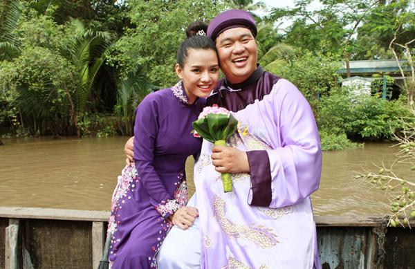Diễn viên Hoàng Mập cũng nên duyên với cô bạn Hiền Trang khi tham gia phim 'Yêu thuê'.