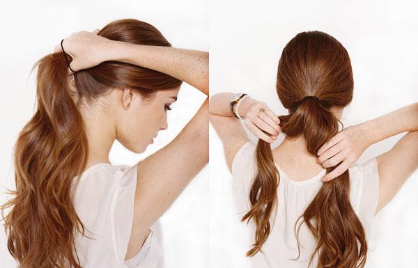 Sau khi làm sạch tóc và thoa dầu dưỡng tạo độ bóng, cô dâu buộc gọn đuôi tóc phía sau.