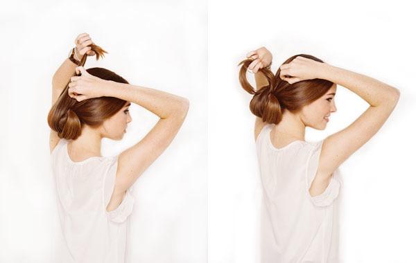 Với phần tóc còn lại, kéo ngược lên trên rồi ghim lại bằng cặp.