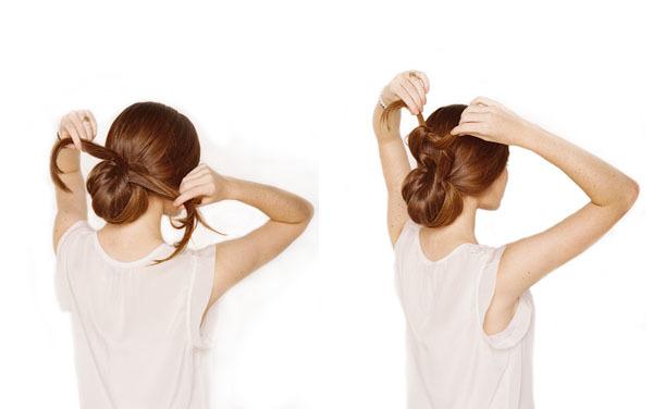 Tiếp tục chia phần đuôi tóc để chừa lại làm đôi và buộc thắt nút để tạo thành chi tiết trang trí vui mắt.