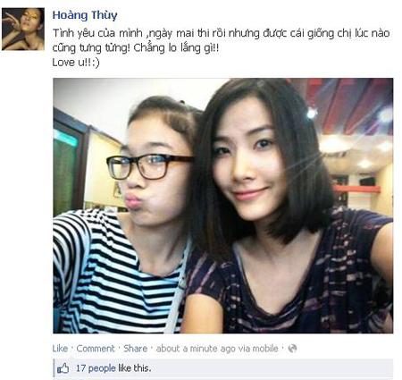 Quán quân Việt Nam Nexttop Model Hoàng Thùy chia sẻ cảm xúc khi em gái sắp bước vào kỳ thi đại học.