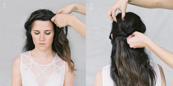 Trước khi tết, uốn xoăn các lọn tóc để tạo sóng mềm mại, bồng bềnh. Sau đó, tết tóc mái kiểu vương miện.