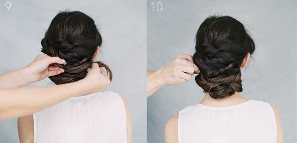 Phần đuôi tóc còn lại, cô dâu tiếp tục chia thành nhiều lọn nhỏ và xếp đan xen và giữa các sóng tóc búi đã tạo ở trên.