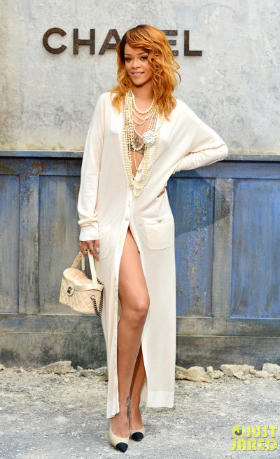 Rihanna strikes a pose as she arrives at the Chanel Haute-Couture Fashion Show held at the Grand Palais on Tuesday (July 2) in Paris, France.