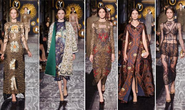 Tông trang điểm tự nhiên và tóc tết cách điệu giúp nổi bật trang phục cầu kỳ của Valentino.