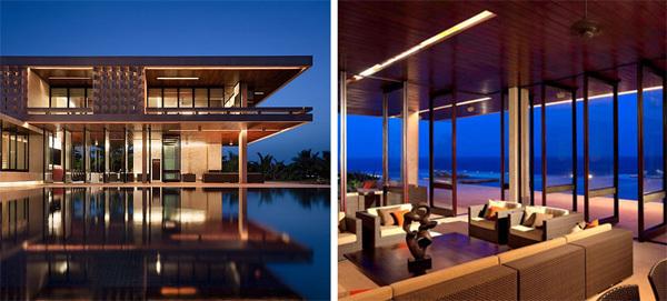 Căn biệt thự sang trọng ở Cộng hòa Dominica bao quanh bởi các lớp kính nhìn ra biển và bể bơi ngoài trời.