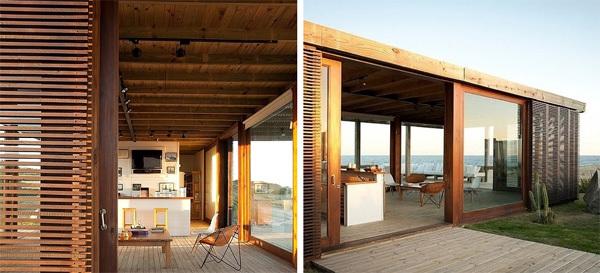 Biệt thự hướng biển ở Uruguay gây ấn tượng với chất liệu gỗ và kính.