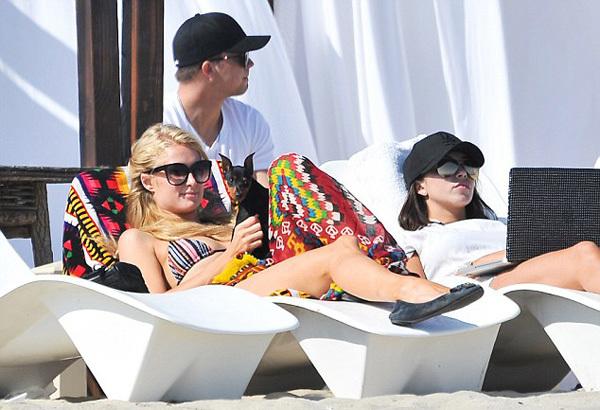 """Paris Hilton tận hưởng kỳ nghỉ cuối tuần cùng bạn trai - """"phi công trẻ"""" 21 tuổi River Viiperi và chú chó cưng của cô."""
