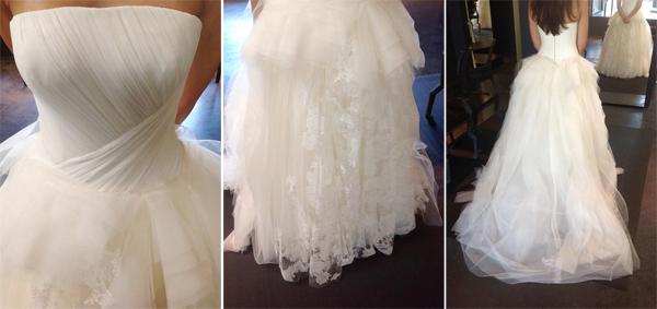 Phần phía trước váy táp vải ren hoa và đuôi váy dài vừa đủ đến tạo