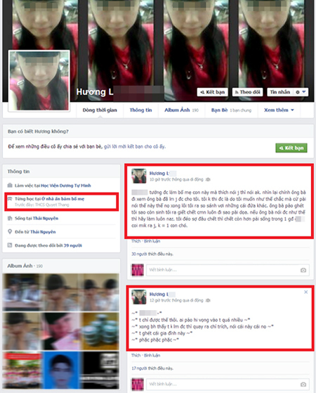 Cô bạn Hương L - người được cho là có hành động lăng mạ bố mẹ trên Facebook.