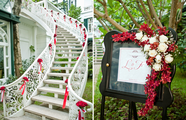 Đám cưới màu trắng - đỏ lãng mạn ở Hà Nội