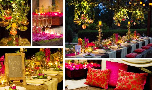 """5. Tiệc cưới lấy cảm hứng từ vở nhạc kịch """"Giấc mộng đêm hè"""" với không gian lung linh, ngập tràn hoa tươi và ánh nến."""