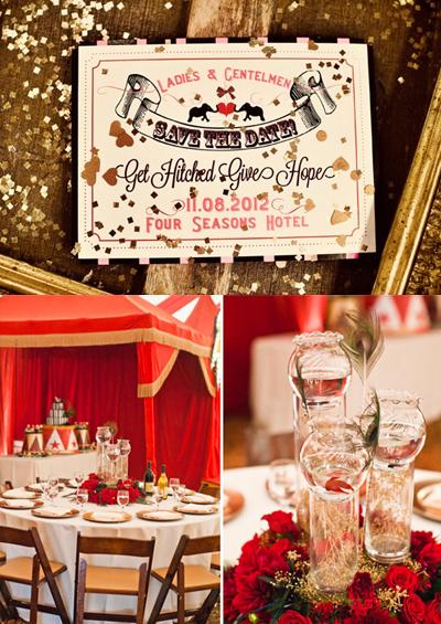 2. Đám cưới lấy ý tưởng từ rạp xiếc.