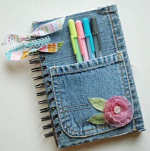 Một quấn sổ bìa jeans thật dễ thương và phong cách.
