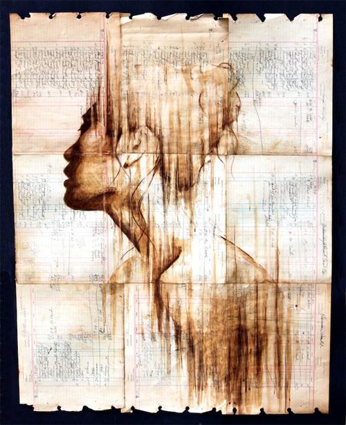 Những bức chân dung rất có chiều sâu được tác giả dùng cafe để phác họa.