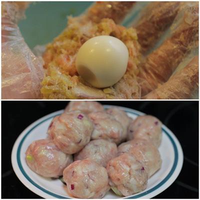Cách làm món thịt viên bọc trứng cút sốt cà chua ngon 10
