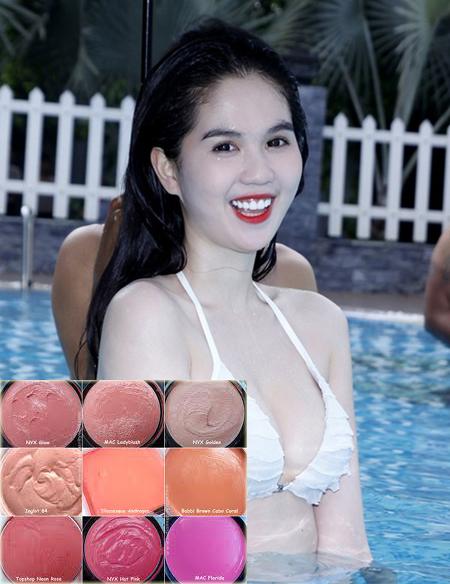 Làn nước mau chóng làm trôi phấn má hồng của Ngọc Trinh, trong trường hợp này, cô nàng nên chọn dùng má hồng dạng kem lâu trôi và không thấm nước.