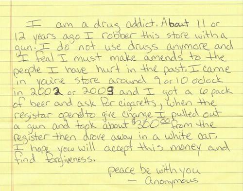 Trộm xin lỗi và trả lại tiền sau 12 năm