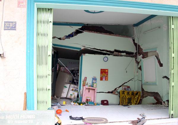Căn nhà bị sập. Ảnh: Châu Thành