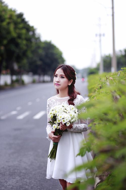 Váy cưới ngắn và dài khi chụp ngoại cảnh