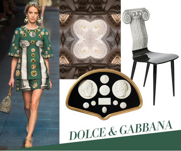 Dolce & Gabbanas photorealistic and painterly interpretations of classical Roman and Grecian architecture playfully manipulate scale and form, a signature of the late designer Piero Fornasetti and now his son, Barnaba. David Nosanchuks background in architecture comes through in his debut collection of wallpapers, which launched this week, featuring repeating photographic slices of famous Roman landmarks. Collectors of the Neoclassical cant resist mounted nineteenth-century Grand Tour cameo collections of Roman emperors and statesmen.