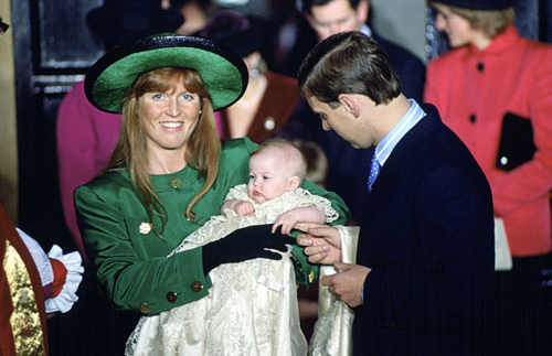 Princess Beatrice's christening on 20 December 1988 by the Archbishop of York. Her parents, the Duke and Duchess of York, look overjoyed at the ceremony in the Chapel Royal, St James's Palace. Photo: © Rex