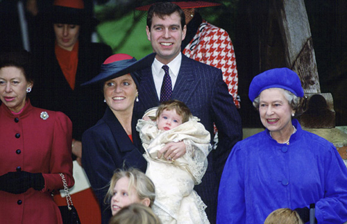 Her sister Eugenie's christening took place on 23 December in Sandringham, Norfolk nine months after her birth. The service was conducted at St Mary Magdalene Church and was delayed so that her father Prince Andrew, a naval flight commander at the time, could be present. As a result the service was open to the public - a first for such an event. Photo: © Rex