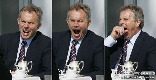 A combination of three pictures shows British Prime Minister Tony Blair yawning before a meeting in Heiligendamm June 7, 2007.  Leaders from the world's major industrialized nations meet in the Baltic resort of Heiligendamm on June 6-8 for a Group of Eight (G8) summit.