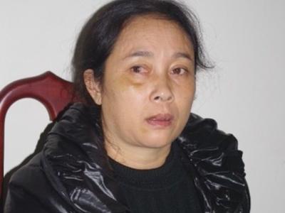 """""""Má mì"""" Trần Thị Hương tại cơ quan điều tra."""