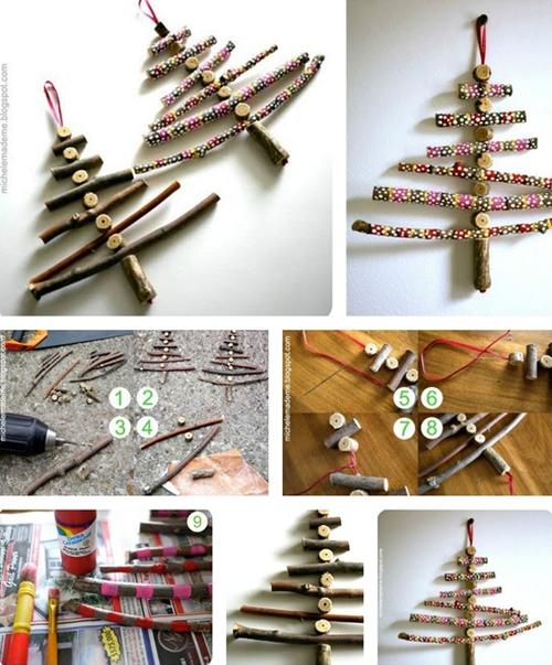 Để làm cây thông nhỏ xỉu này, bạn sẽ mất khá nhiều công chọn lựa, cắt gọt và tô màu; nhưng bù lại tác phẩm rất dễ thương.