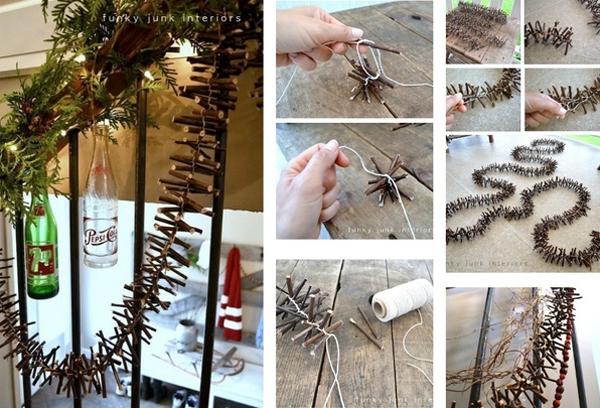 Tết những đoạn cành cây nhỏ thành dây trang trí quấn