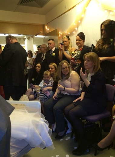 Hayleys mum, Eirian, who lives in Wrexham, added: It was a lovely day. We had about 20 people in the room, family, friends and medical staff and the registrar did everything she would normally do. Nothing was different apart from the location.