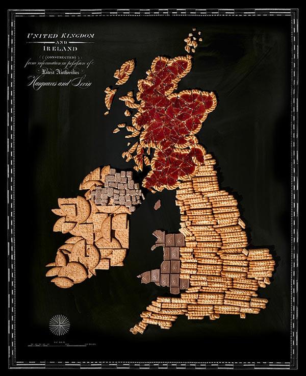 Tấm bản đồ này nhắc bạn khi đến Anh nhớ phải thưởng thức các loại bánh quy ngon thượng hạng nhé.