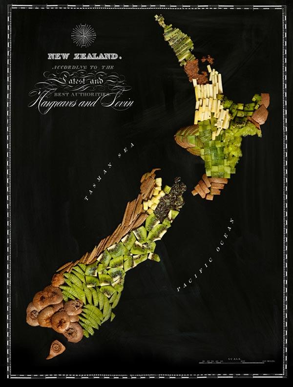 Trái kiwi đặc sản của New Zealand được dùng làm nguyên liệu để vẽ lên chính vùng đất này.
