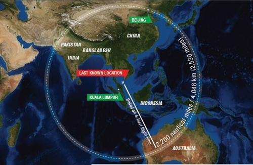 Khu vực mà chuyến bay MH370 có thể tới nếu bay thêm 4 giờ nữa kể từ vị trí mất tích khỏi màn hình radar dân sự Malaysia. Đồ họa: Malaysia Insider.