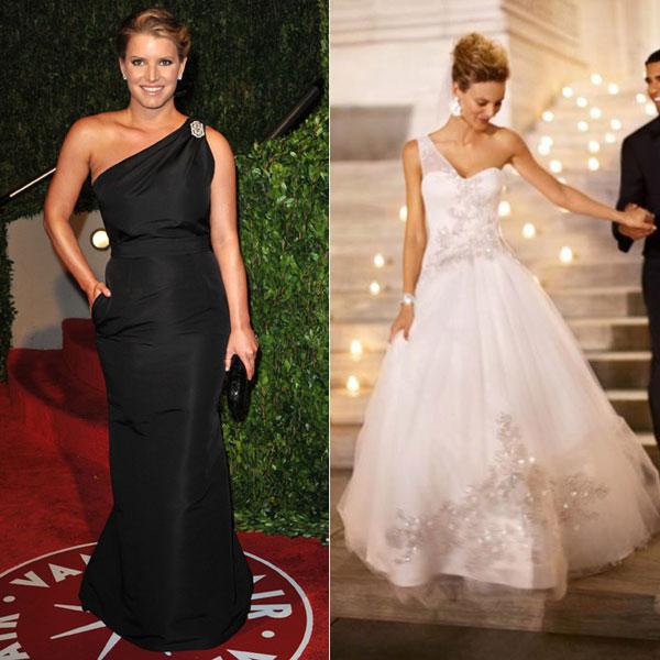Chọn váy cưới cho Jessica Simpson giấu vòng 2 to
