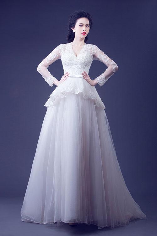 Hoa hậu ảnh Triều Thu gợi ý váy cưới đơn giản